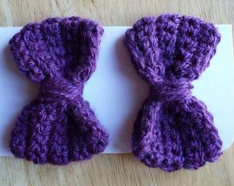 Purple Crochet Hair Bows