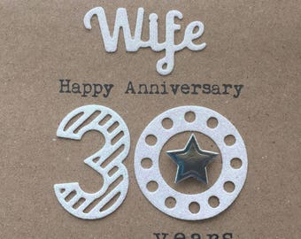 30th Wedding Anniversary card. Wife. 30 years. Pearl. Handmade. Anniversary.