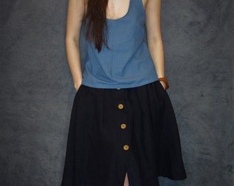 Blue Linen Tank Top, Handmade Blouse, Natural Fabric, Woman Fashion, Handmade Tank Top, Casual Clothing, Sustainable Fashion