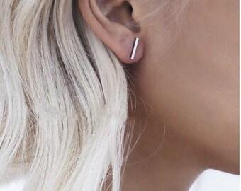 Minimalist Tiny Stud Earrings. Line earrings/ triangle - gold,black matte,sliver