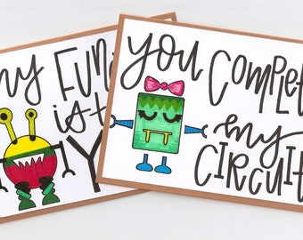 Robot Love Cards, Handmade, Robots, Free Shipping