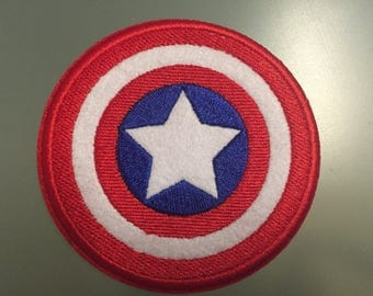 "CAPTAIN AMERICA Shield Patch - Embroideed Iron On Patch - 3"" - USA Hero"