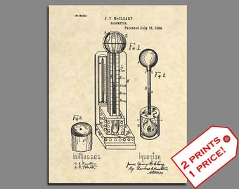 Patent Prints - 1884 Barometer Weather Wall Art Patent Print - Vintage Weather Decor Weather Instruements Patent Art - Weather Art - 185
