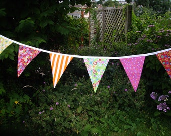 Vintage style mixed colour fabric bunting