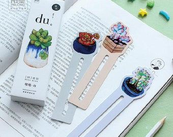 Succulent bookmark, cactus bookmark, kawaii stationery, bullet journal accessories, book lover, reading accessories, pack of five