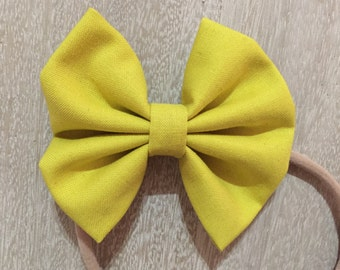 Blooming Green fabric hair bow or bow tie