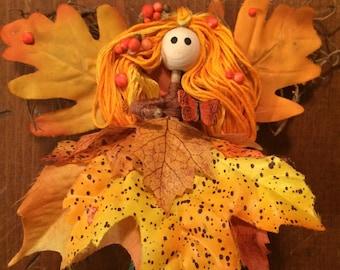 Autumn Leaf Fairy Doll, Flower Petal Fairy Doll, Handmade, Autumn Doll, Whimsical, Fairy Garden, Fairy.
