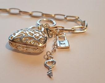 Dior inspired Designer Charm Bracelet in 925 Silver