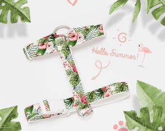 Adjustable Tropical Flowers/Hibiscus and Leaf Patterned Dog/Cat Harness-Textile Dog/Cat Harness-Tropical Dog/Cat H Harness