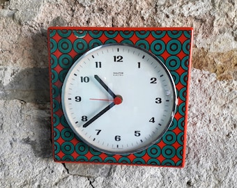 Vintage Ceramic Kitchen Wall Clock Red Green Wall Clock Germany 60s 70s