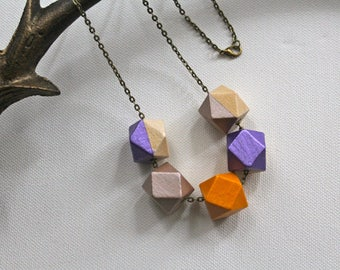 Geometric Statement Necklace | Geometric | Wooden Bead Necklace | Mink Pearl, Purple, Yellow | Hand Painted Bead | Antique Bronze Chain