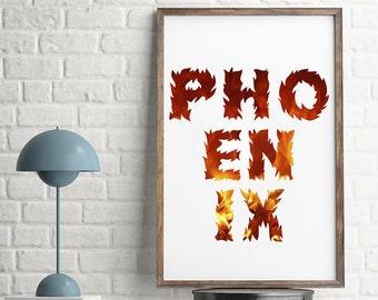 PHOENIX Art Print, Fire Phoenix, Inspirational, Motivational Art, Regeneration, Revive, HB, Phoenix Fire, Fire Letter, Fire Word, Fire Font