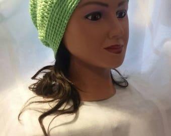Neon green slouchy beanie,  very soft, retro,  punk, teen