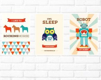 owl print set/Scandinavian wall print/robot illustration/horse print set/Nordic wall/kids baby print/boy wall robot print set/Scandinavian