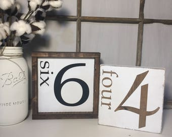 Family number sign, Fixer upper Décor, Gallery wall sign, Farmhouse wood sign, Custom family number sign, Farmhouse Style, Number wood sign