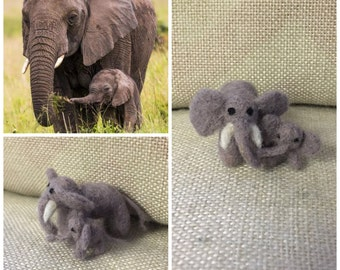 Tiny needle felted elephant and baby