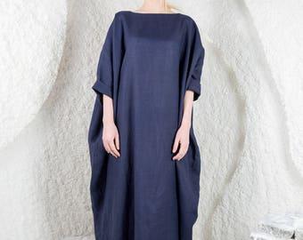 Linen dress, white linen dress, linen summer tunic, kaftan, linen clothes, maxi linen dress, oversized linen dress, extravagant dress/LD0002