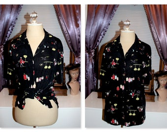 Black blouse with whimsical girls shopping print
