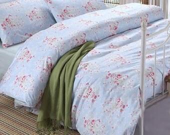 Blue Rose Cottage French Shabby Egyption Cotton Duvet Cover Sheet Set Bedding