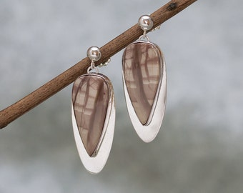 Sterling Silver with Brown Imperial Jasper Stone Dangle Earrings, Handmade by Artist in USA