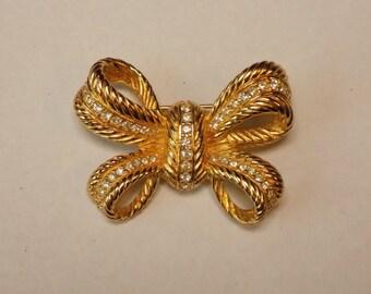 Christian Dior Swarovski Bow Pin Vintage Brooch