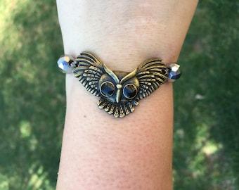 Owl charm beaded mood bracelet | Animal bracelet | custom jewelry | gift for him | dark beaded | reversible bracelet |