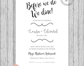 Rehearsal Wedding Dinner Invites A5 A6 Rustic or White. Printed