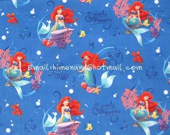 gz8915 - 1 Yard Cotton Woven Fabric - Cartoon Characters, Disney Princess The Little Mermaid Ariel - Blue (W105)