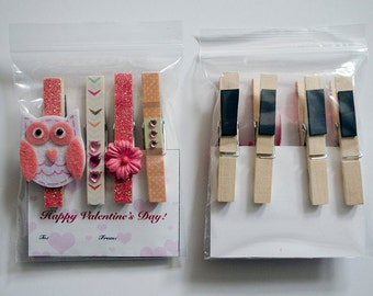 Valentine Clothespin Magnets