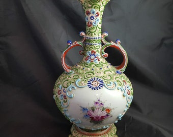 Antique Nippon Heavy Moriage Handled Footed Vase