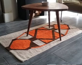 Soft rug woven VINTAGE Brown and cream, orange colors POP, 70s