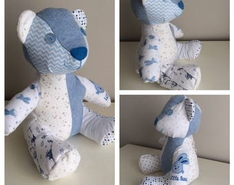 Memory Bear, Keepsake Bear, Bereavement Bear, Patchwork Bear, Baby Clothes Bear