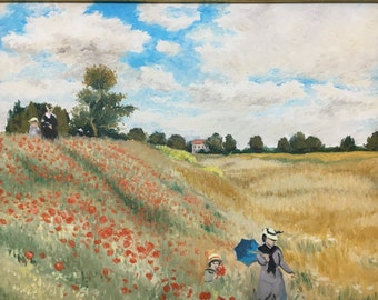 Impressionist painting copy landscape with Claude Monet's poppy field commissioned oil painting