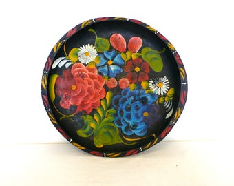 Handpainted Mexican Bowl---Bohemian Flowered Dish---Painted Wooden Tray