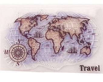 Global Map Transparent Clear Silicone Stamps