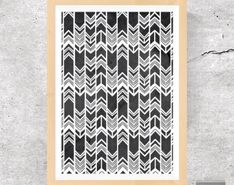 Mojave, Mojave Print, Mojave Triangles, Native American Print, Mojave Arrows, Mojave Pattern, Arrow Pattern, Grey Poster, Instant Download
