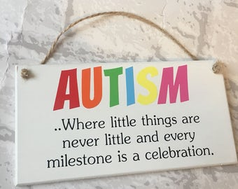 Autism Autistic awarness quote handmade wooden plaque gift
