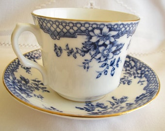 Rosina Teacup saucer Bone China Made in England Blue cup Blue saucer Blue tea set Vintage tea cup Vintage Bone China Tea party Cup gift her
