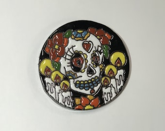 Sugar Skull Clay Coaster