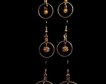 Earrings - 3 pairs - Sold separately