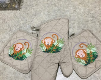 Embroidered Monkey Kitchen  Hot Pads and Mitt