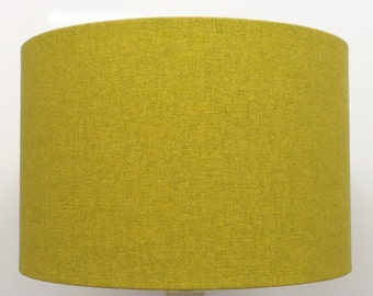 Shetland Lime Brushed Linen Style Cylinder / Drum Lampshades / Pendant Shade / Table