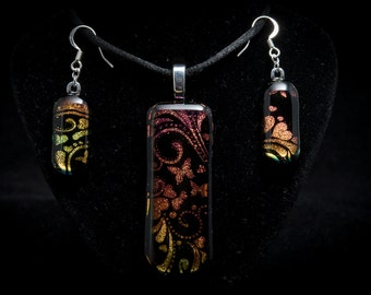 Beautiful fused dichroic glass necklace and earring set - butterflies