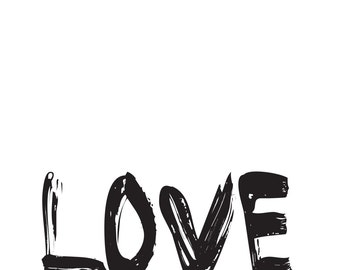Love You, black and white, minimalist print