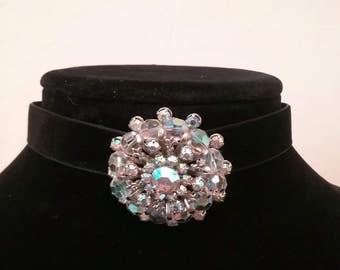 Austrian Crystal Choker, Crystal Necklace, Crystal Pendant, Bling Choker, Rhinestone Choker, Diamante Choker Black Velvet, Celebrity Choker