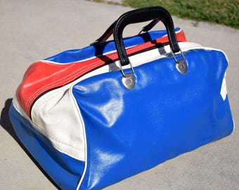 Vintage Roller Skate Ice Skate Travel Bag from the 1960s Mod Red White Blue Carryall Vinyl Tote Bag Retro Carrier, Curling bag
