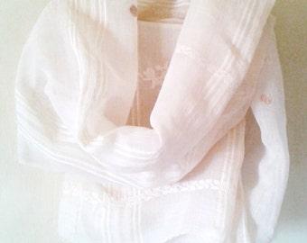 Clean Vintage Headscarf,AUTHENTIC Silk Scarf,Scarves,Wraps,Vintage White Veil, Antique Veil,Wedding Lace veil,Bridal Veil,White Linen Scarf