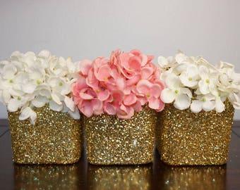 10 Glitter Centerpieces, Glitter Vases, Glass Vases, Wedding Centerpieces, Bridalshower Centerpieces, Babyshower Centerpieces, Cube Vases