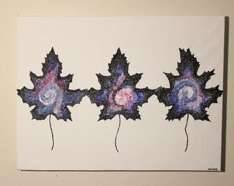 Space-trio Leaf Art Original Acrylic Painting Wall Decor