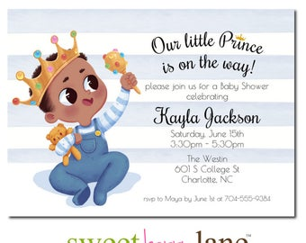 African American Baby Shower Invitation | Little Prince Baby Shower Invitation | Baby Shower Invite for boys | Boy Baby Shower Party Invite